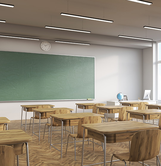 Classroom with clean wooden chair and desk after cleaning | Picture Perfect Cleaning