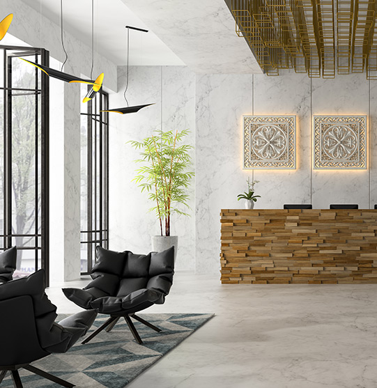 Receptionist area of an office building | Spas and Healthcare cleaning services by picture perfect cleaning