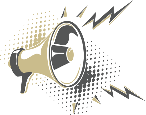 Picture perfect cleaning mission Statement image with a megaphone